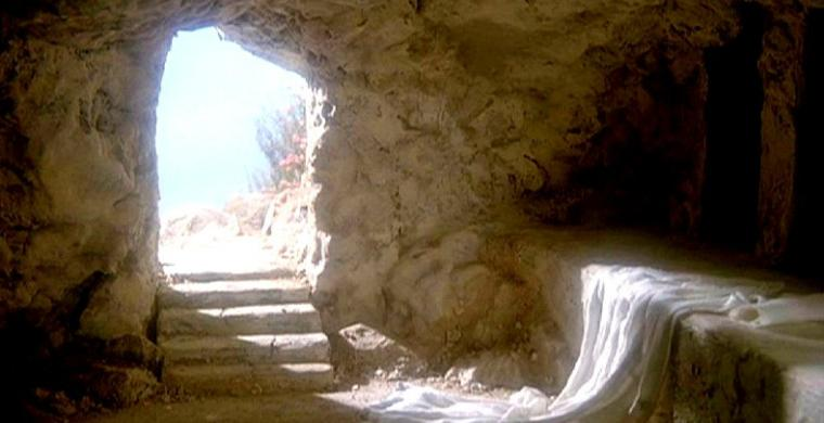 From the darkness of the tomb Easter light flows in