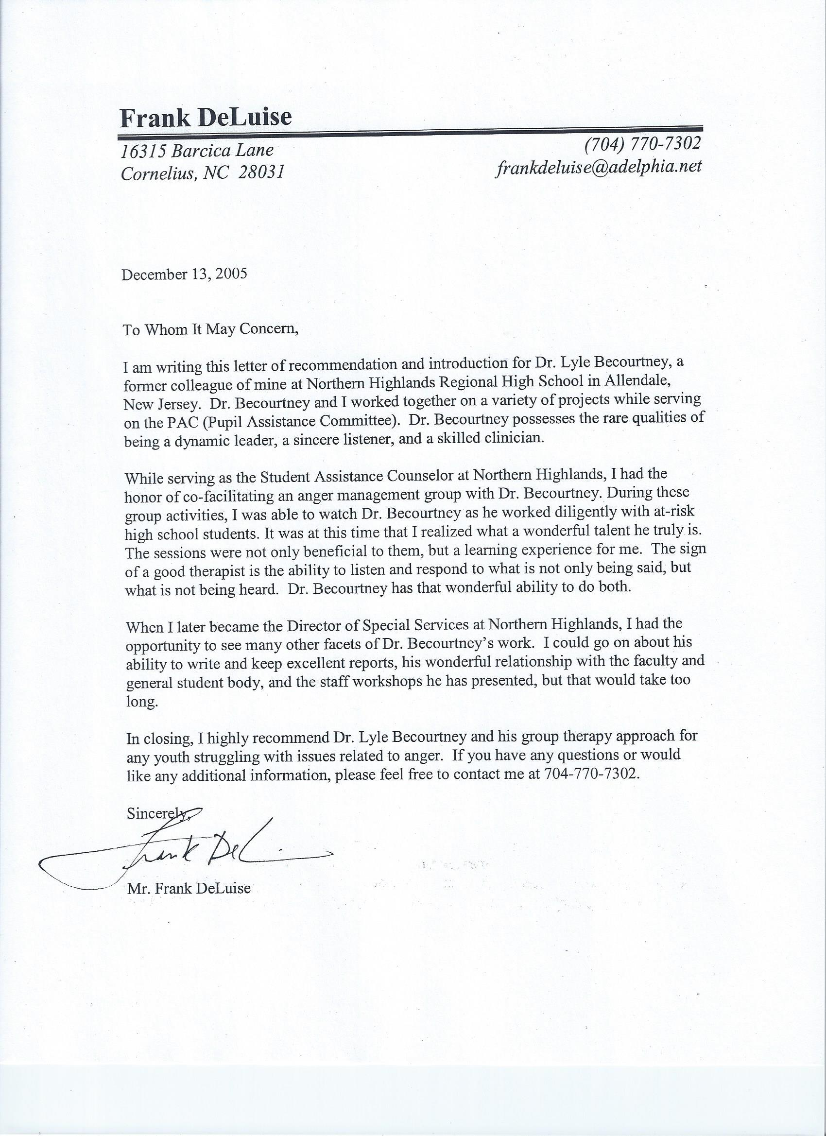 Letter of Reference from Frank DeLuise