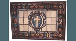 Vetrata rilegata in piombo con vetri pitturati a fuoco, vetro anticato, vetro decorato a fuoco, vetro sabbiato