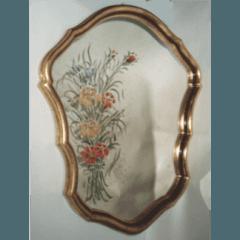 Specchio pitturato, vetrofusione, restauro vetrate artistiche, vetro anticato