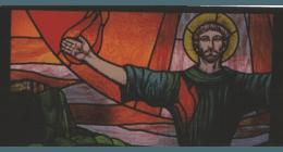 Vetrata rilegata in piombo con vetri pitturati a fuoco, restauri d'epoca; restauro vetrate, restauro vetrate artistiche, vetrate su misura