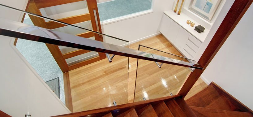 Glass balustrade with stainless steel hand rail