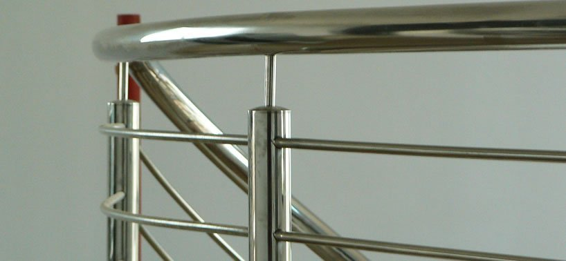 Stainless steel curved balustrade staircase