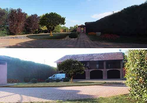 2 edifici con pavimentazione e alberi su sfondo