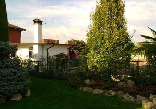 giardino di una casa con alberi