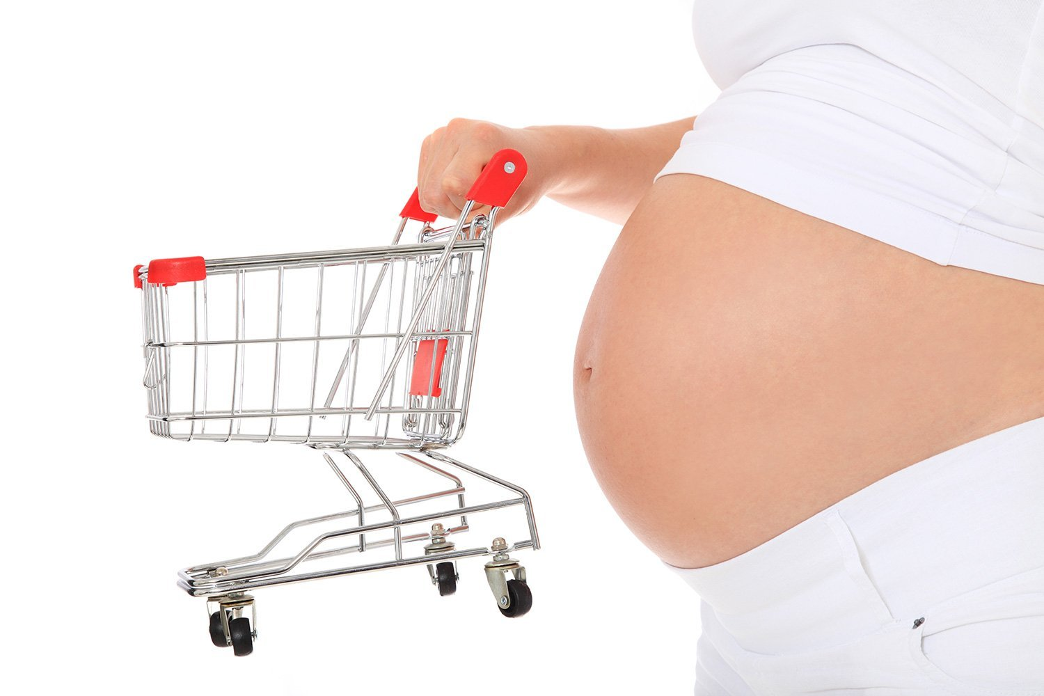 Pregnant woman holding shopping cart