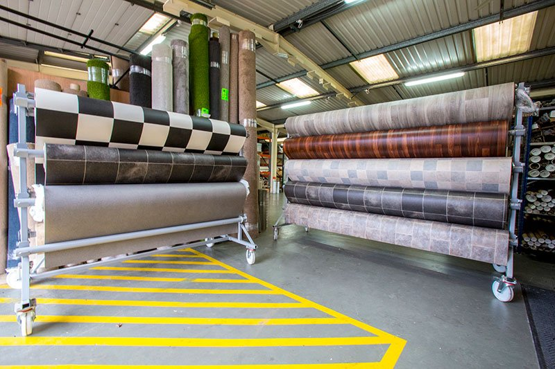 Rolls in County flooring & supplies warehouse