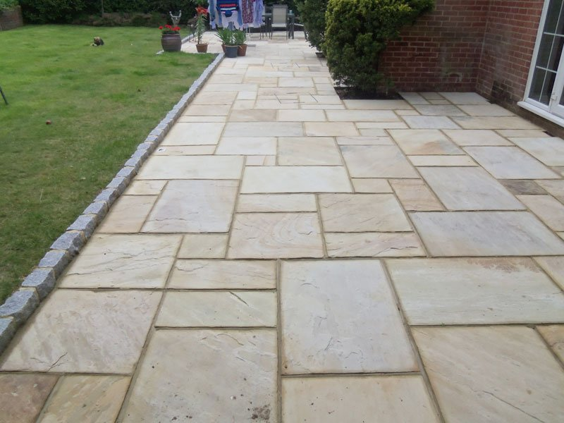 complete view of the natural stone paving