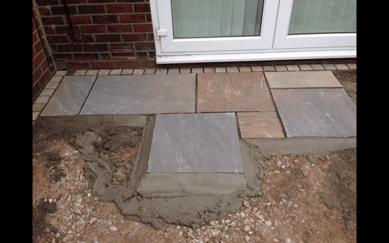 partial view of stone paving