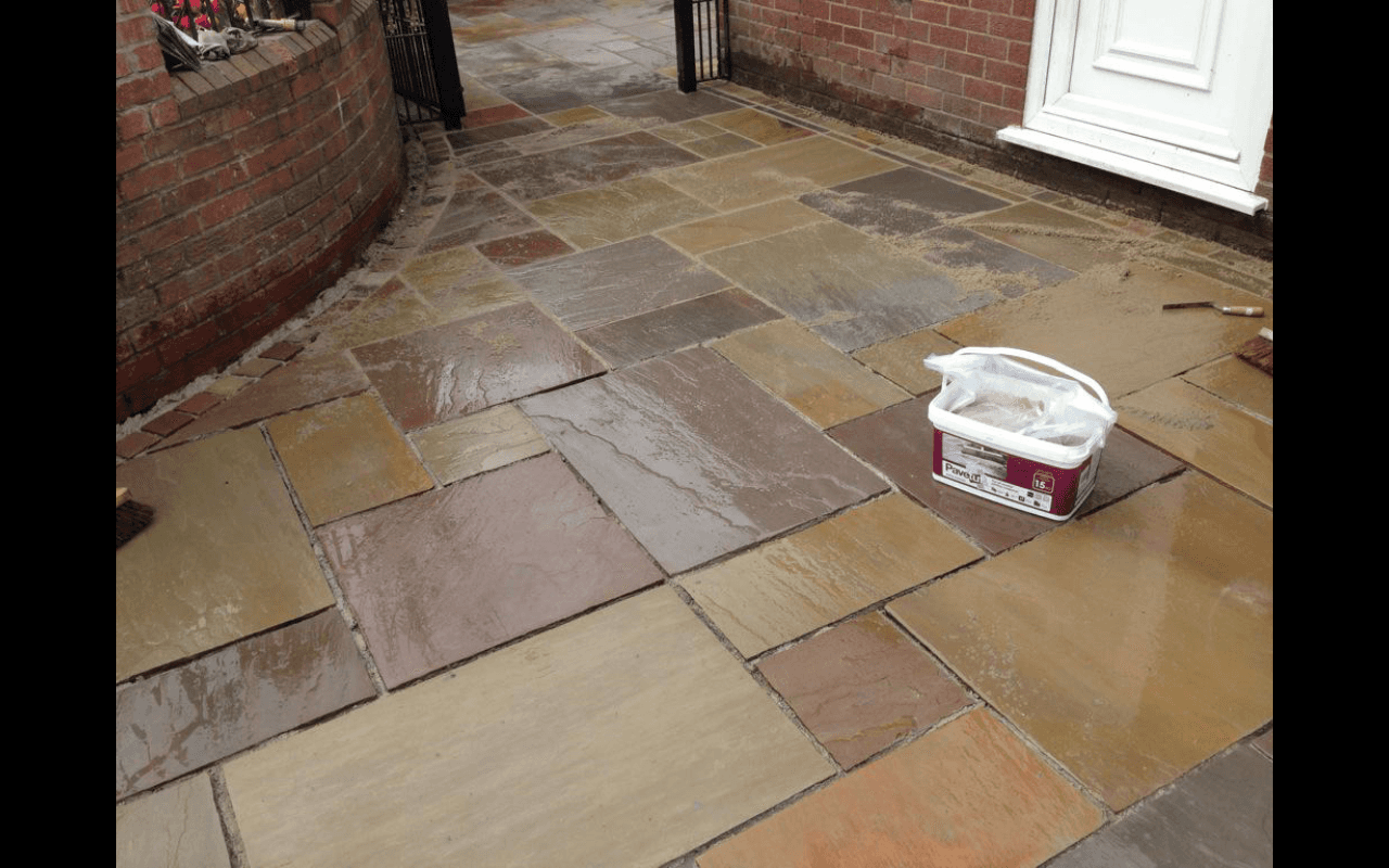natural stone paving after cleaning