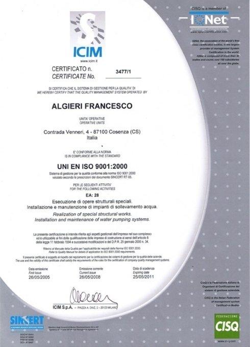 Certificazione UNI EN  ISO 9001:2000