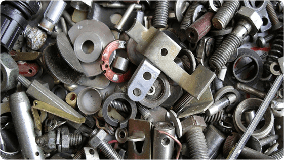 Close up of screws and bolts for recycling