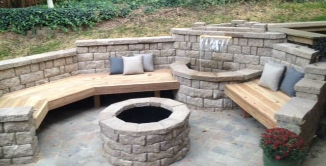 Stone Seating & Patio Benches, Previous Project of landscapes built by professionals in ST Charles & ST Louis, MO