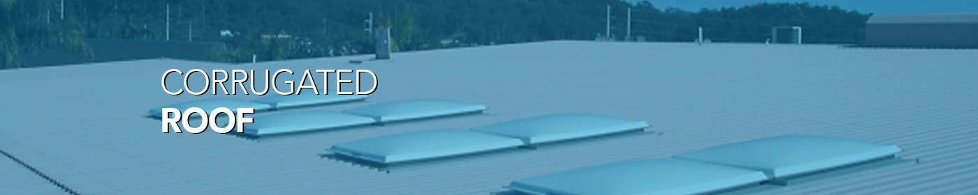 Corrugated roof with blue tint