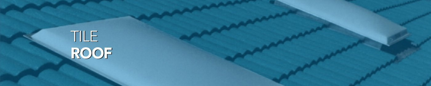 Tile roofs with skylight and blue tint