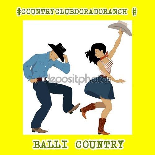 un disegno di un uomo e una donna che ballano con scritto Balli Country