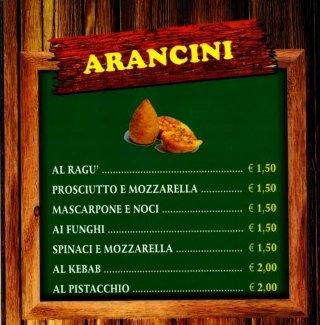 menù arancini