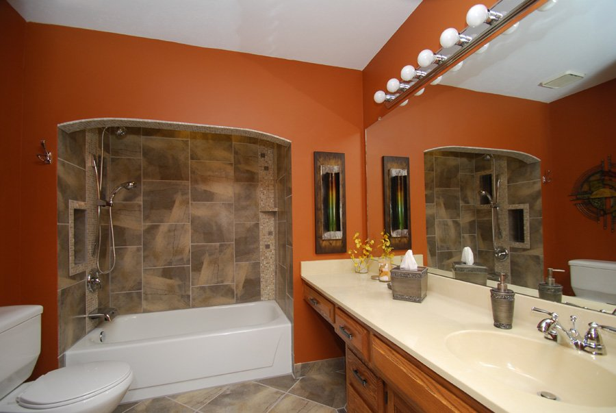 bathroom remodel, tile shower, painting