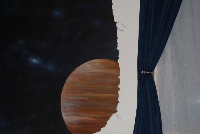 space mural, bedroom mural, planets, break away design