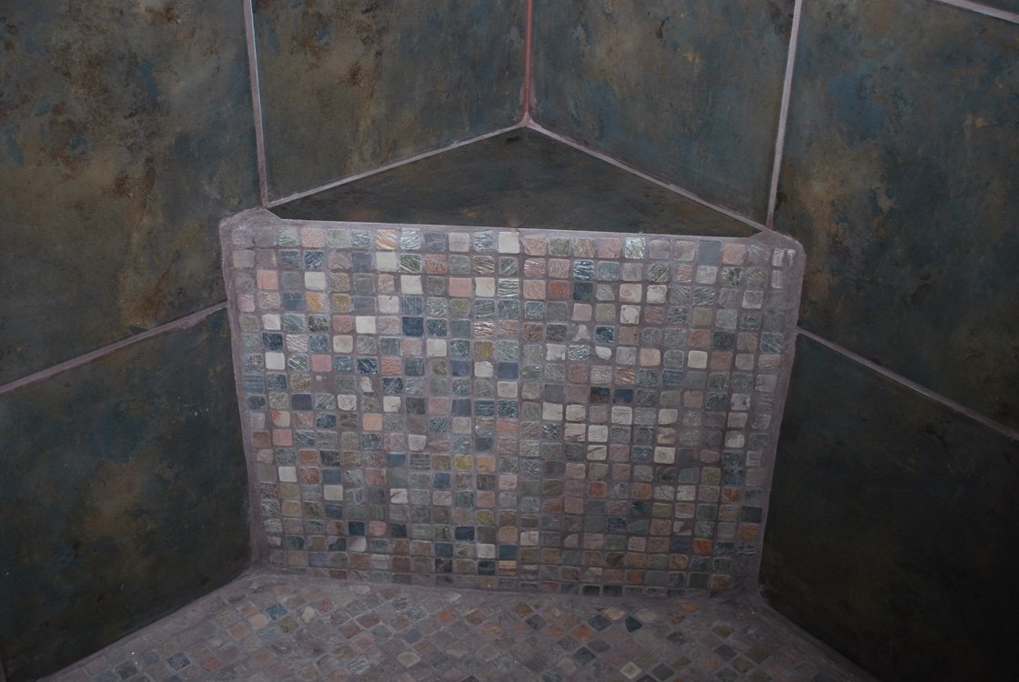 mosaic tile shower, bathroom remodel, corner bench