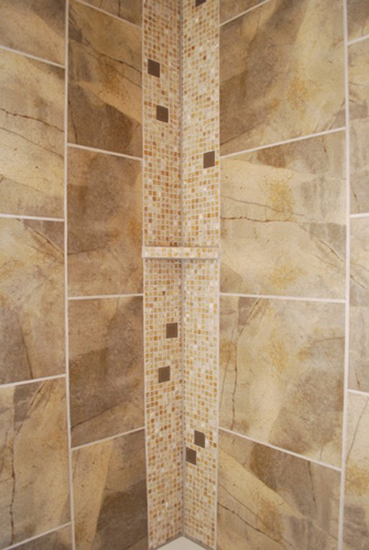 bathroom remodel, tile shower, soap shelves