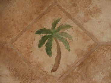 concrete overlay, bathroom floor overlay, palm tree
