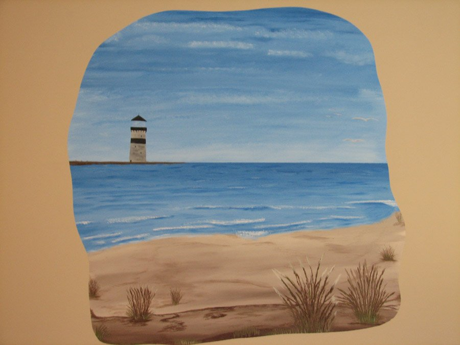 lighthouse mural, beach, ocean waves, home decor