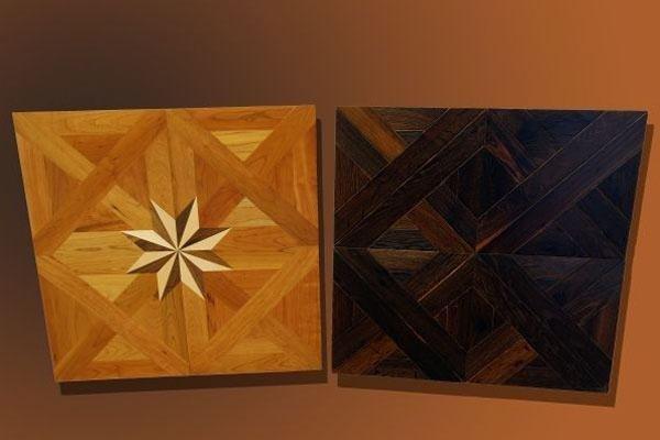 legno chiaro e scuro con intarsi