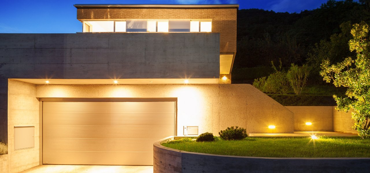A house with outdoor lighting