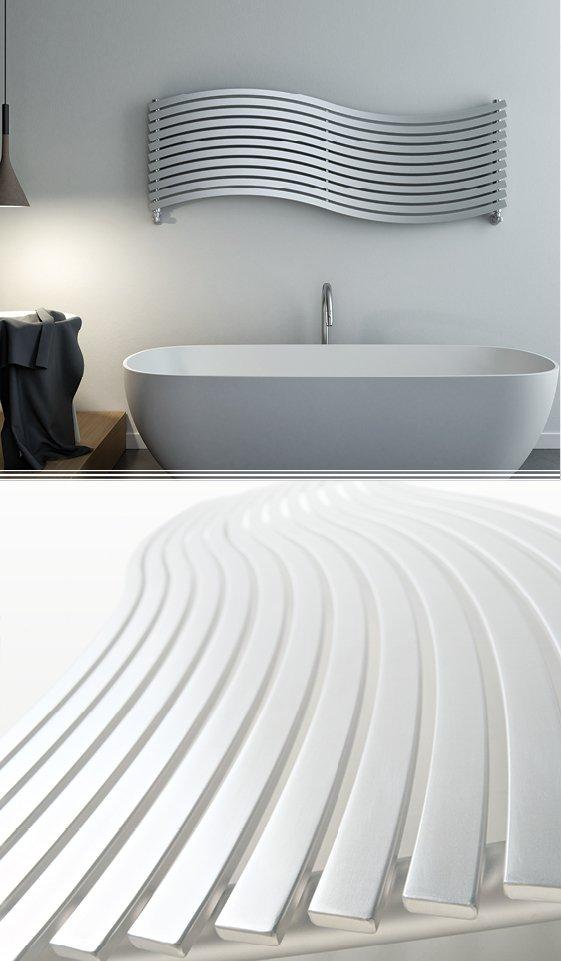 una vasca e un calorifero moderno a muro