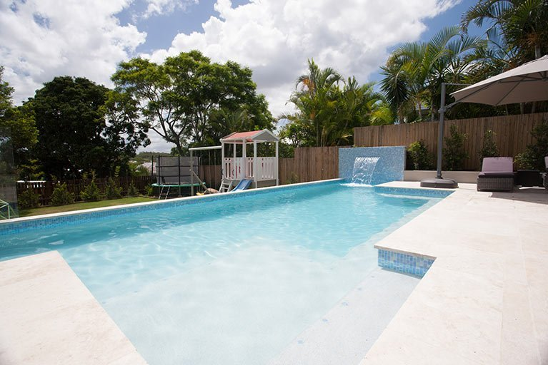 pool renovation with waterfall feature grange