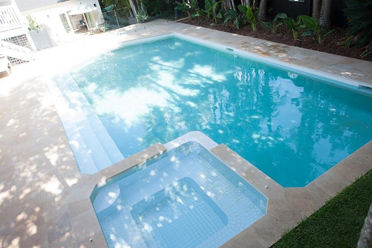 pool and spa on angle ascot