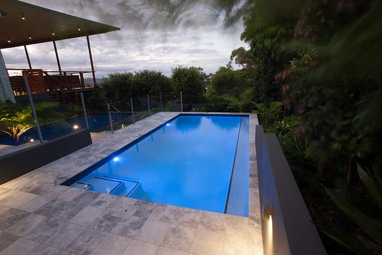 new pool lit up at night moorooka