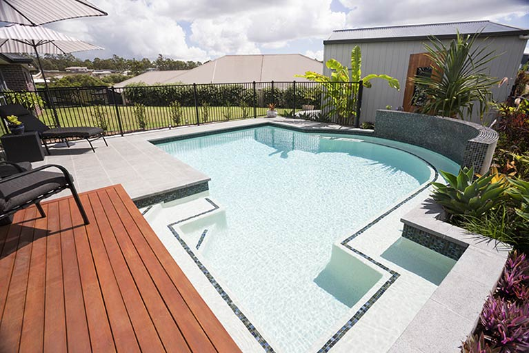 new pool with wooden deck cashmere