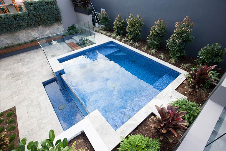 tiled pool with garden carindale