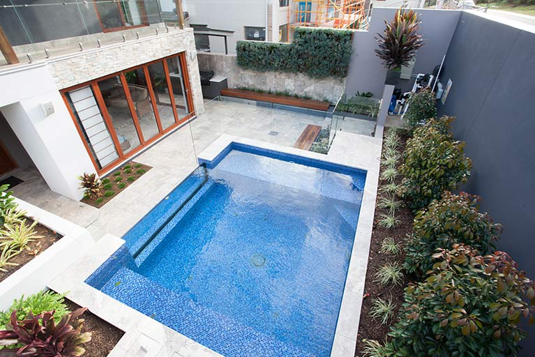 backyard pool of stylish house carindale