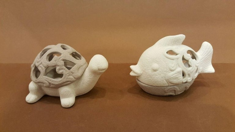 Scatola ceramica pesce e tartaruga