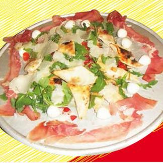 pizza primavera, pizza con il prosciutto crudo