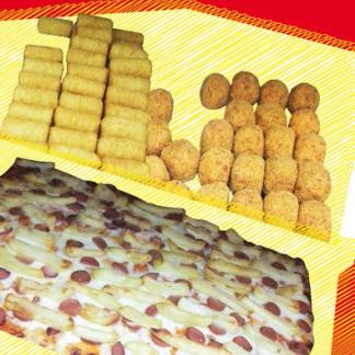 pizza con patatine e wurstel