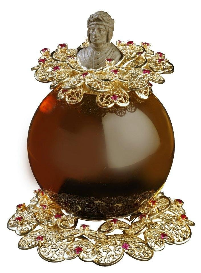 gioiello in filigrana, quarzo citrino e rubini
