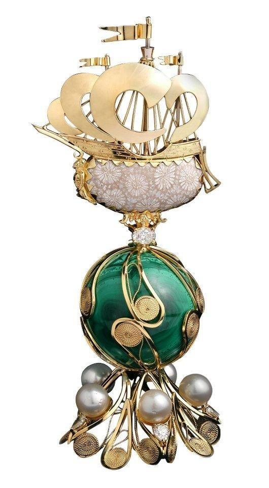 gioiello in oro e malachite