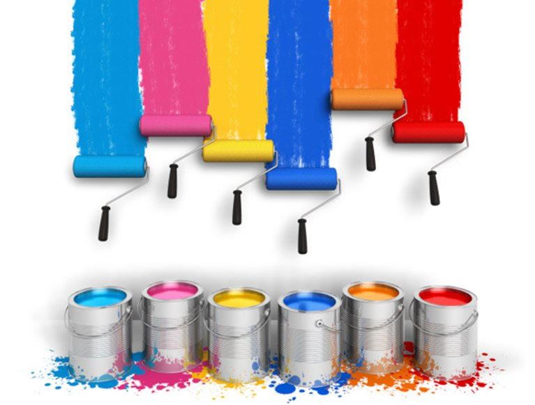 brilliance painting services colourful roller bursh and paint tin