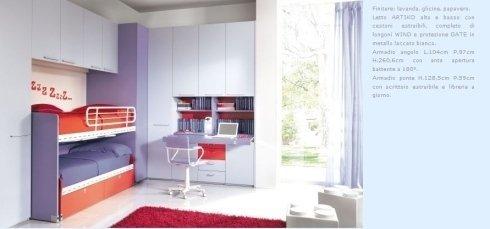 arredamenti moderni, letto singolo, armadio