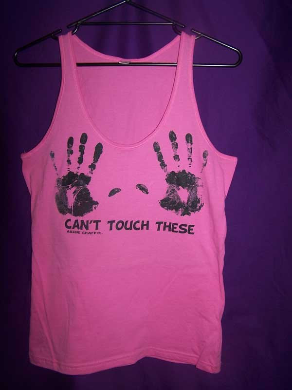 pink tank can't touch these screen printing