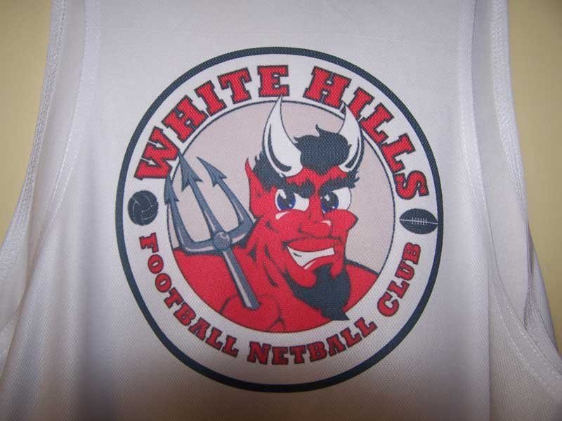 white hills football netball club screen printing