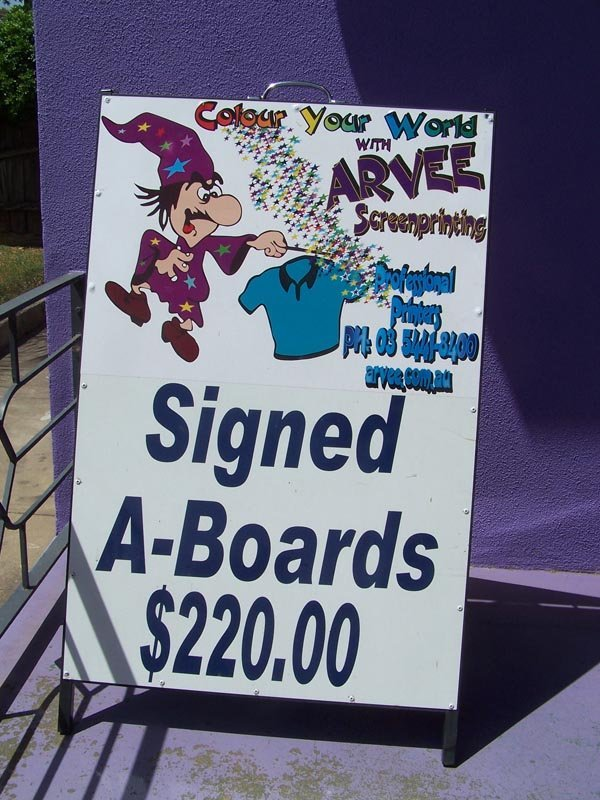 full wixard signed a-boards sign