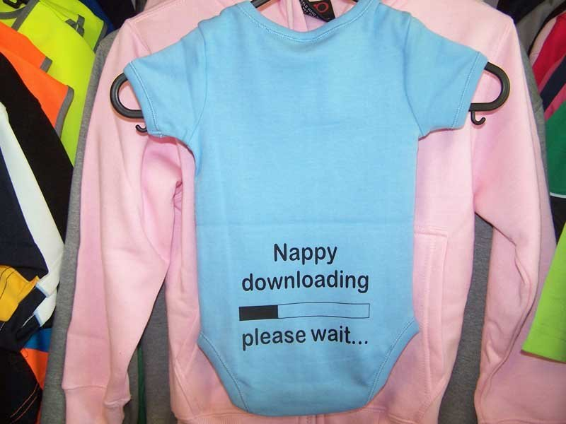 nappy downloading blue onesie screen printing