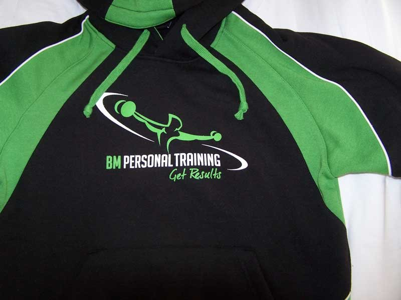 geen baclk bm personal training shirt screen printing