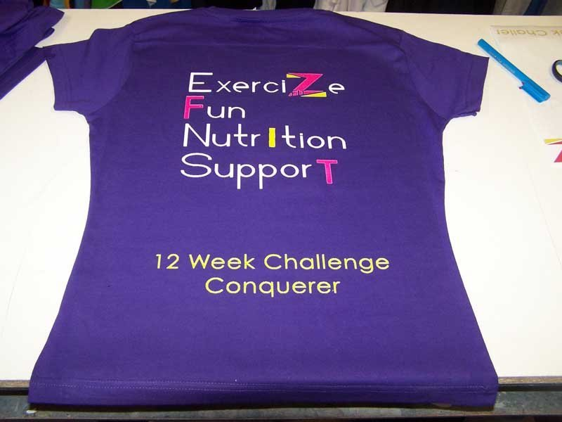 exercise fun nutrition support shirt screen printing