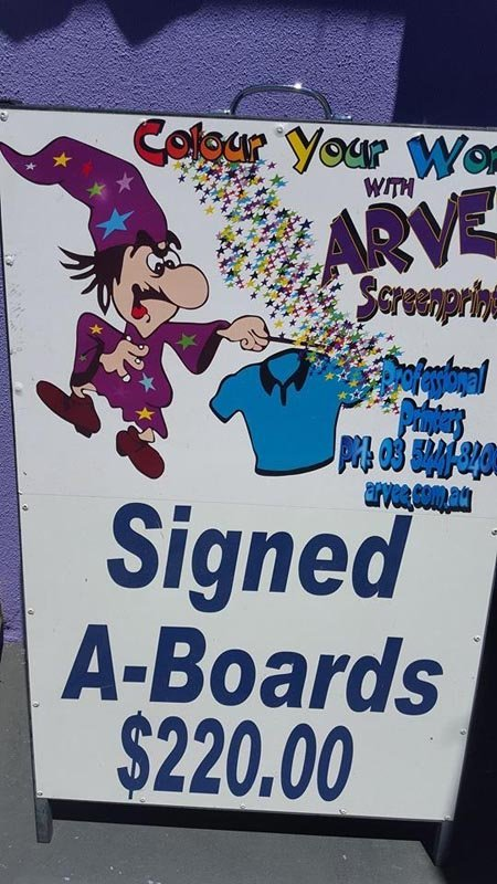 colour your word with arvee screenprinting sign